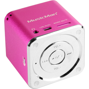 MusicMan Portable Speaker System - Pink - Battery Rechargeable - USB