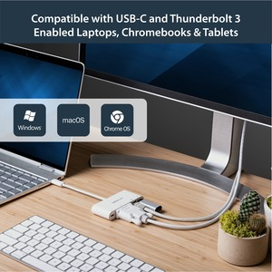 StarTech.com USB C Multiport Adapter - with Power Delivery (USB PD) - USB C to USB 3.0 / DVI / Gigabit Ethernet - USB-C Hu
