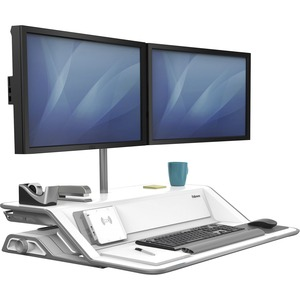 Black Stand for LCD Display//Keyboard// Mouse Fellowes Lotus DX sit-Stand Workstation