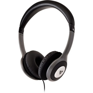 V7 HA520-2EP Wired Over-the-head Binaural Stereo Headphone - Black, Grey - Circumaural - 32 Ohm - 20 Hz to 20 kHz - 1.80 m
