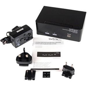 StarTech.com Conmutador Switch KVM de 2 Puertos Doble Monitor DVI VGA Audio 4 Puertos USB 1920x1200 - 2 Ordenador(es) - WU
