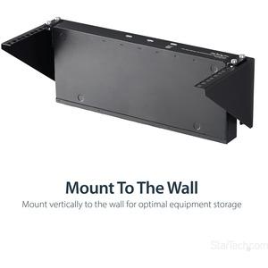 StarTech.com 4U 48cm Steel Vertical Wall Mount Equipment Rack Bracket - 56.84 kg Load Capacity - 1
