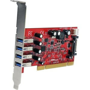 StarTech.com 4 Port PCI SuperSpeed USB 3.0 Adapter Card with SATA/SP4 Power - 4 Total USB Port(s) - 4 USB 3.0 Port(s) - PC