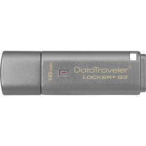 Kingston 16GB DataTraveler Locker+ G3 USB 3.0 Flash Drive - 16 GB - USB 3.0 - 135 MB/s Read Speed - 20 MB/s Write Speed -