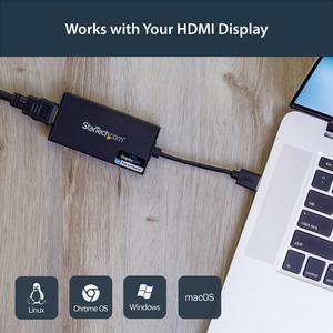 StarTech.com USB 3.0 to 4K HDMI External Multi Monitor Video Graphics Adapter - DisplayLink Certified - Ultra HD 4K - Conn