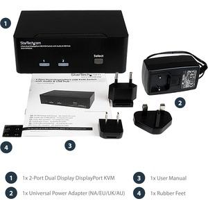 Dual Monitor DisplayPort KVM Switch - 2 Port - USB 2.0 Hub - Audio and Microphone - DP KVM Switch (SV231DPDDUA)