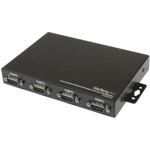 StarTech.com Adaptador Concentrador Hub 4 Puertos Serie Serial RS232 DB9 a USB con Retención Puerto COM - USB - PC - 4 x N