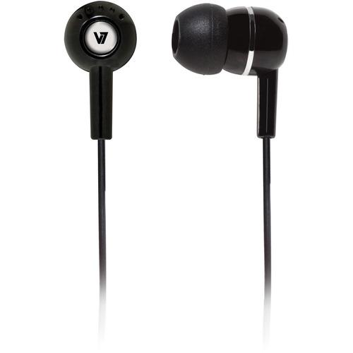 V7 HA100-2EP Wired Earbud Binaural Stereo Earphone - Black - In-ear - 32 Ohm - 20 Hz to 20 kHz - 1.20 m Cable - Mini-phone