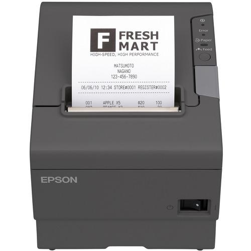 Epson TM-T88V Desktop Direct Thermal Printer - Monochrome - Wall Mount - Receipt Print - USB - Serial - Dark Grey - 72 mm