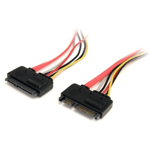 StarTech.com 12in 22 Pin SATA Power and Data Extension Cable - First End: 1 x Male SATA - Second End: 1 x Female SATA - Ex