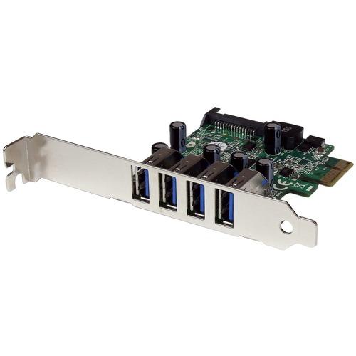 StarTech.com Adattatore scheda controller PCI Express PCIe SuperSpeed USB 3.0 a 4 porte con UASP - Alimentazione SATA - Su