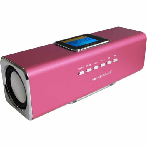 MusicMan 2.0 Portable Speaker System - 6 W RMS - Pink - 150 Hz to 18 kHz - Battery Rechargeable - USB