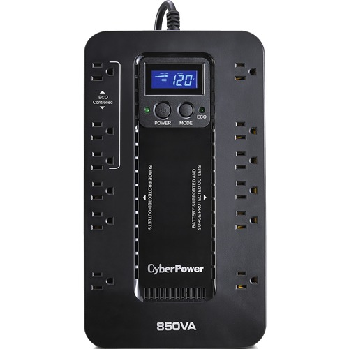 CyberPower UPS Systems EC850LCD Ecologic -  Capacity: 850 VA / 510 W - Compact - 8 Hour Recharge - 2.30 Minute Stand-by -