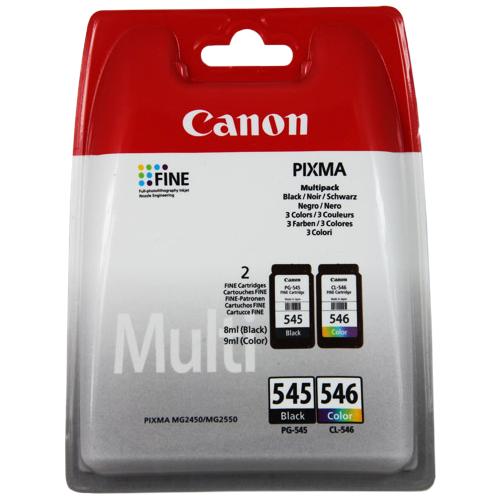 Cartucho de tinta Canon PG-545/CL-546 - Negro, Color Original - Empaque Múltiple - Tinta - 180 Páginas Color, 180 Páginas
