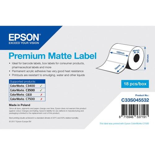 Epson Premium Multipurpose Label - 102 mm Width x 35 m Length - Permanent Adhesive - Inkjet - Bright White - Paper - 1 / R