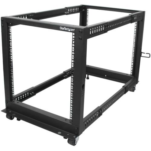 StarTech.com 12U Open Frame Server Rack - Adjustable Depth - 4-Post Data Rack - w/ Casters/Levelers/Cable Management Hooks