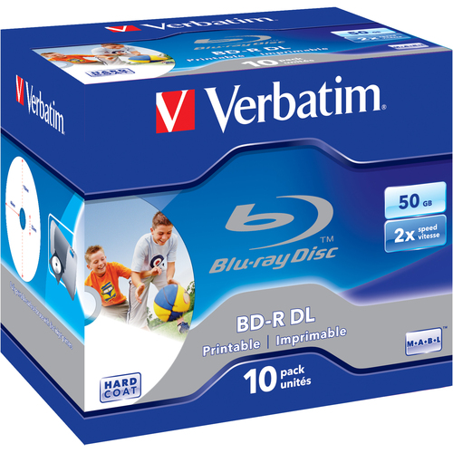 Verbatim 43736 Blu-ray Recordable Media - BD-R DL - 6x - 50 GB - 10 Pack Jewel Case - 120mm - Printable