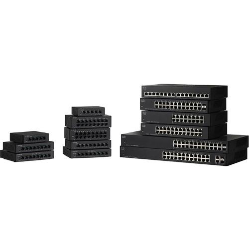 Switch 16 Puertos Capa 2 no administrable SF110-16 - 10/100Base-TX Fast Ethernet Montable en rack y Pared - el Smartnet se
