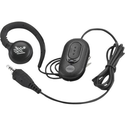 Zebra Wired Earbud, Over-the-ear Mono Earset - Black - Monaural - Outer-ear - Mini-phone (3.5mm)