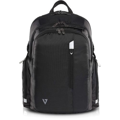 """V7 Elite Carrying Case (Backpack) for 39.6 cm (15.6"""") Notebook - Black - Water Resistant - Shoulder Strap"""