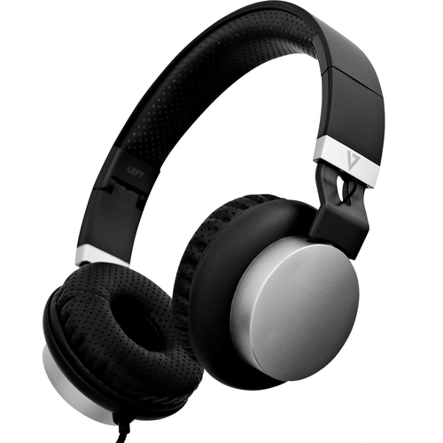 V7 HA601-3EP Wired Over-the-head Stereo Headset - Black, Silver - Binaural - Circumaural - 32 Ohm - 20 Hz to 20 kHz - 180