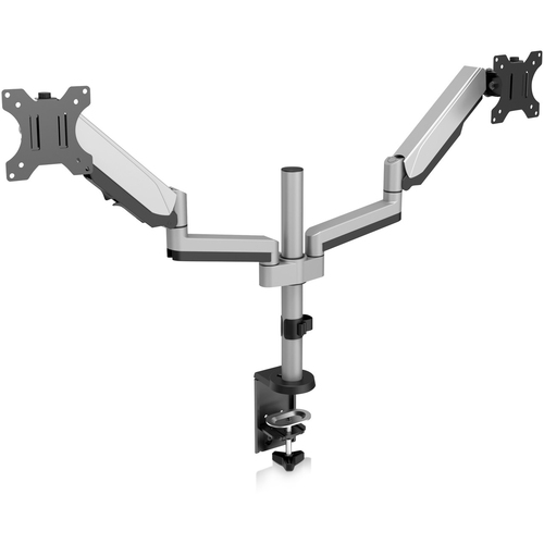 """V7 DM1DTA-1E Desk Mount for Monitor - Silver - 2 Display(s) Supported81.3 cm (32"""") Screen Support - 16 kg Load Capacity"""