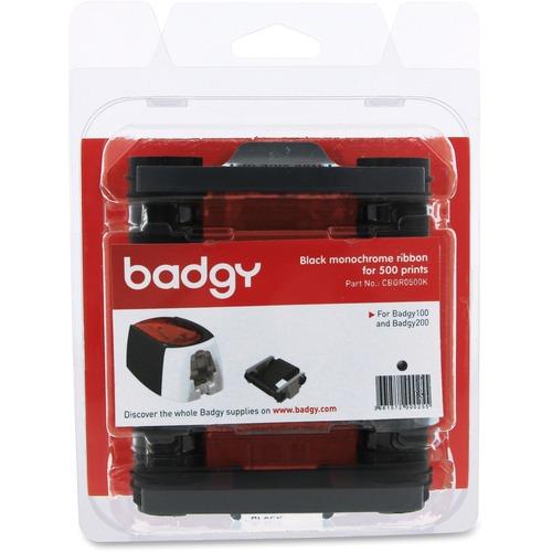 Badgy Ribbon - Black - Thermal Transfer - 500 Cards - 1 Each