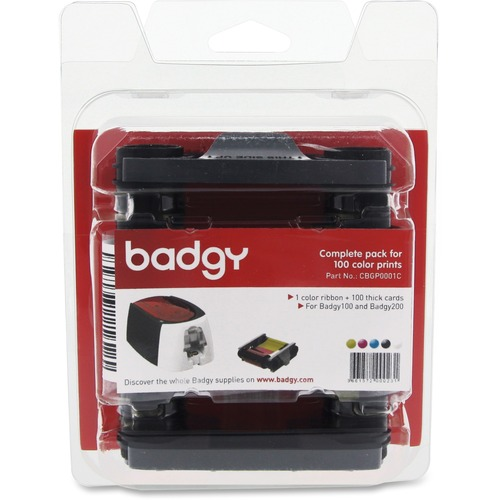 Badgy Ribbon/Card Kit - YMCKO - Dye Sublimation - 100 Cards - 1 Pack