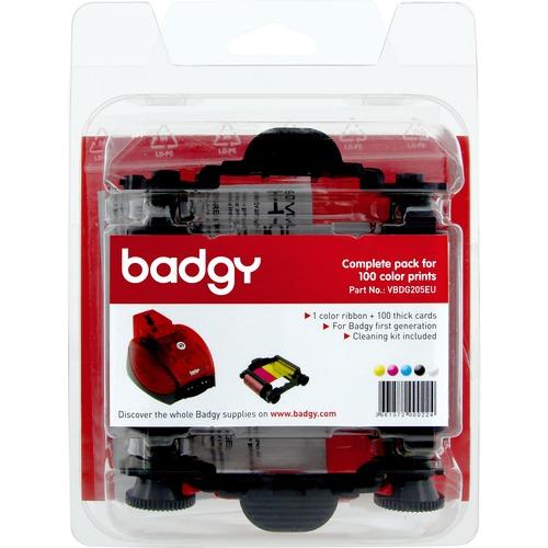 Badgy Ribbon/Card Kit - YMCKO - Dye Sublimation - 100 Cards