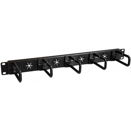 """1U 19"""" Cable Management Organizer - D Ring Hook Network/Server Rack Cord Manager - Data Center Horizontal Wire Panel with"""