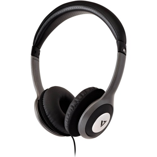 V7 Deluxe Stereo Headphones with Volume Control - Stereo - Black, Gray - Mini-phone (3.5mm) - Wired - 32 Ohm - 20 Hz 20 kH