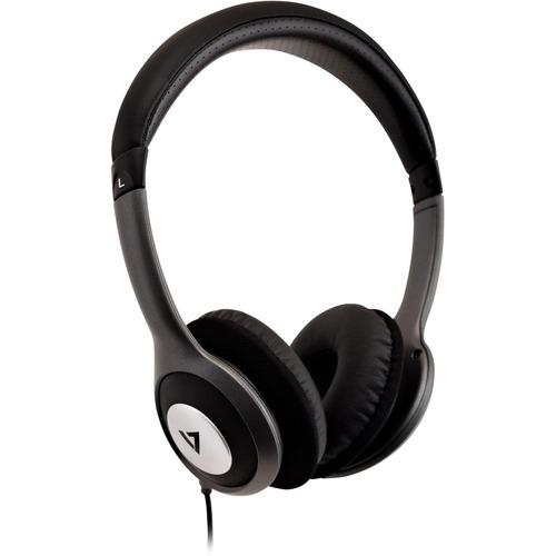 Cuffie stereo V7 Deluxe con regolatore volume, cuffie leggere per iPad, iPhone, iPod, tablet, smartphone, laptop, PC, Chro