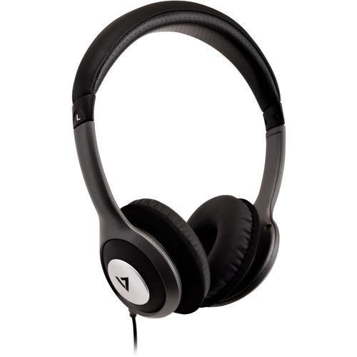 V7 HA520-2EP Wired Over-the-head Binaural Stereo Headphone - Black, Grey - Circumaural - 32 Ohm - 20 Hz to 20 kHz - 1.80 m