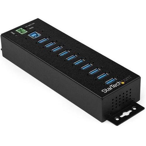 StarTech.com 10 Port USB Hub w/ Power Adapter - Metal Industrial USB 3.0 Data Hub - Din Rail, Wall & Desk Mount USB 3.1 Ge