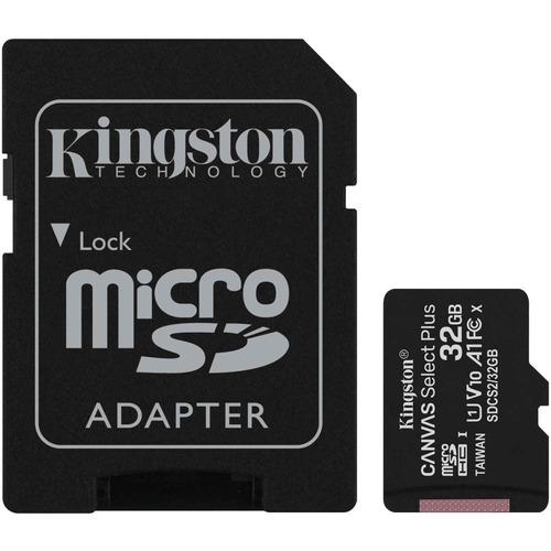 microSDHC Kingston Canvas Select Plus - 32 GB - Class 10/UHS-I (U1) - 1 Paquete(s) - 100 MB/s Leer