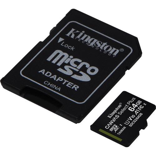 microSDXC Kingston Canvas Select Plus - 64 GB - Class 10/UHS-I (U1) - 1 Paquete(s) - 100 MB/s Leer