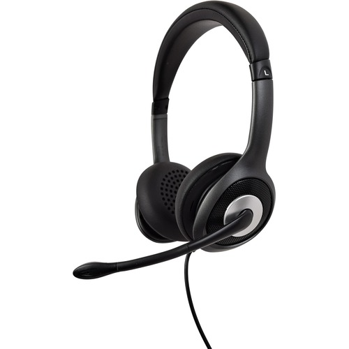 V7 Deluxe HU530C Wired Over-the-head Stereo Headset - Black, Grey - Binaural - Circumaural - 32 Ohm - 20 Hz to 20 kHz - No