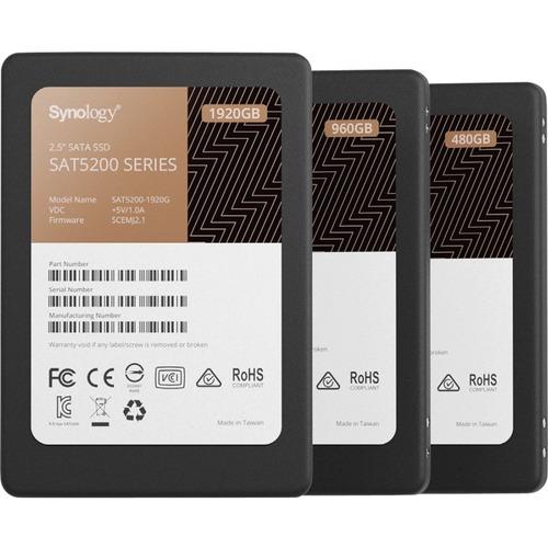 """Synology SAT5200 SAT5200-960G 960 GB Solid State Drive - 2.5"""" Internal - SATA (SATA/600) - 1.3 DWPD - 2290 TB TBW - 530 MB"""