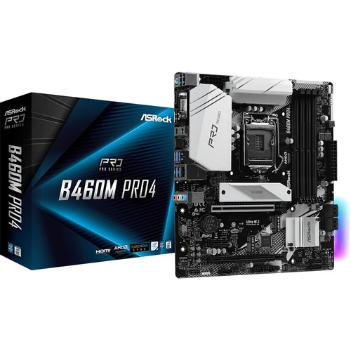 ASRock B460M PRO4 Desktop Motherboard - Intel Chipset - Socket LGA-1200 - Intel Optane Memory Ready - Micro ATX - 128 GB D