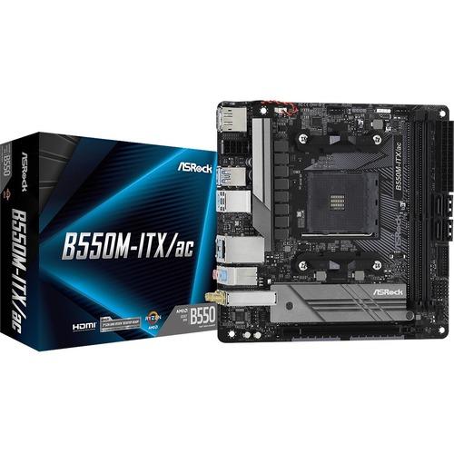 ASRock B550M-ITX/ac Desktop Motherboard - AMD Chipset - Socket AM4 - Mini ITX - 64 GB DDR4 SDRAM Maximum RAM - DIMM, UDIMM