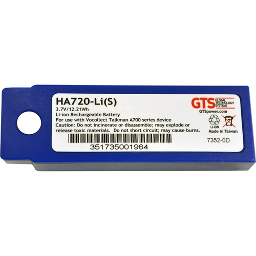 GTS HA720-Li(S) Battery - Lithium Ion (Li-Ion) - For Barcode Scanner - Battery Rechargeable - 3.7 V DC - 3300 mAh