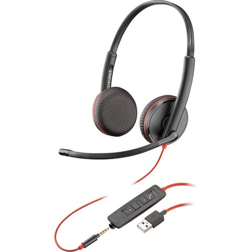 Plantronics Blackwire C3225 Wired Over-the-head Stereo Headset - Binaural - Supra-aural - 20 Hz to 20 kHz - Noise Cancelli