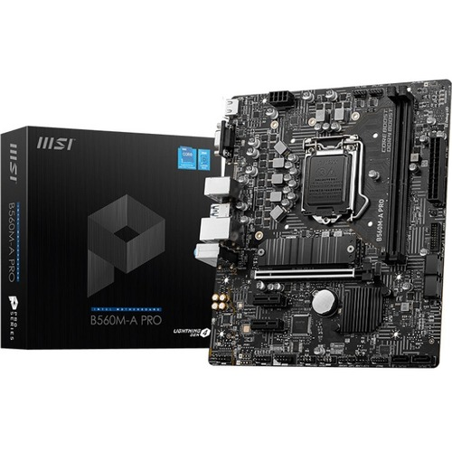 MSI B560M-A PRO Desktop Motherboard - Intel Chipset - Socket LGA-1200 - Intel Optane Memory Ready - Micro ATX - Pentium Go